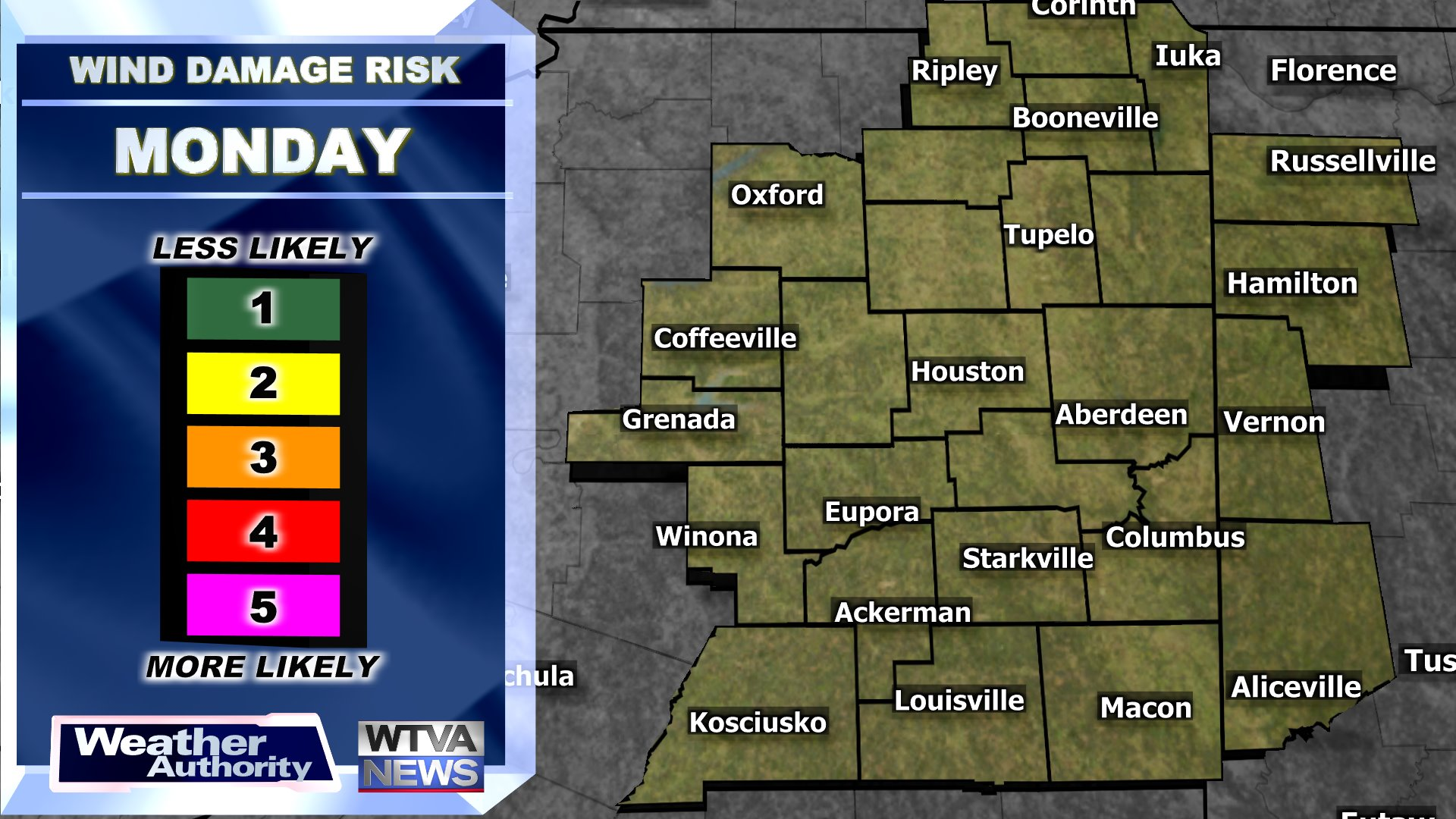 Today's Wind Damage Risk